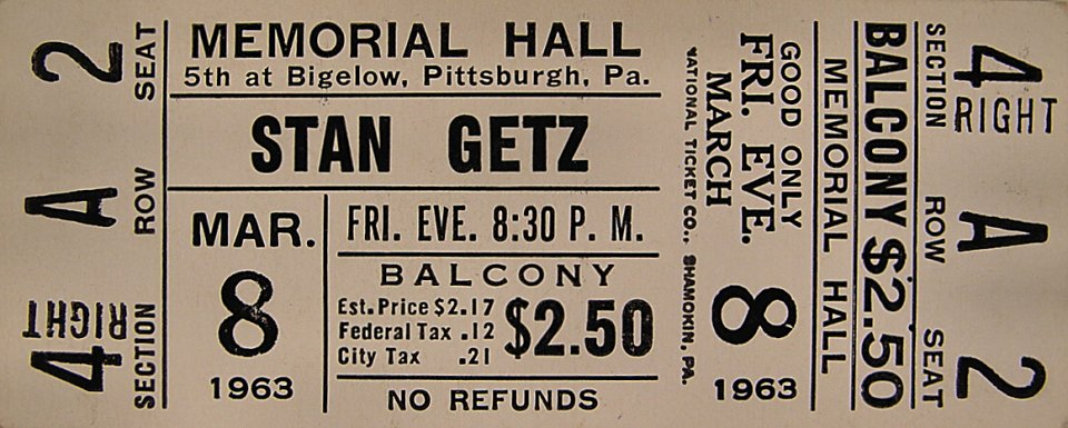 Stan Getz Vintage Ticket