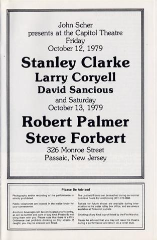 Stanley Clarke Program reverse side
