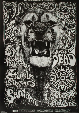 Steppenwolf Poster From Fillmore West Aug 27 1968 At