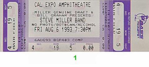 Steve Miller Band Vintage Ticket