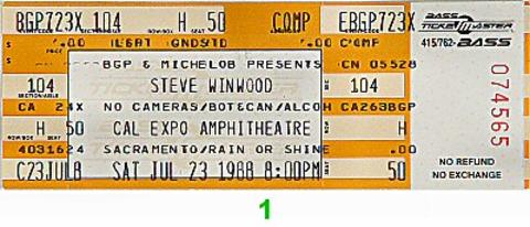 Steve Winwood Vintage Ticket
