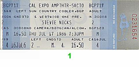 Stevie Nicks Vintage Ticket