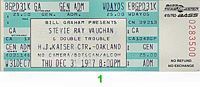 Stevie Ray Vaughan & Double Trouble Vintage Ticket