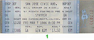 Stryper Vintage Ticket