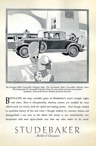 Studebaker: President Eight Convertible Cabriolet Vintage Ad