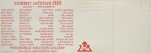 Summer Solution 1988 Postcard reverse side