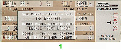 Terence Trent D'Arby Vintage Ticket