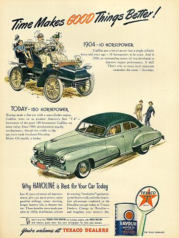 Texaco: Havoline Motor Oil / Cadillac Vintage Ad