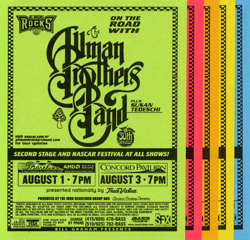 The Allman Brothers Band Handbill reverse side