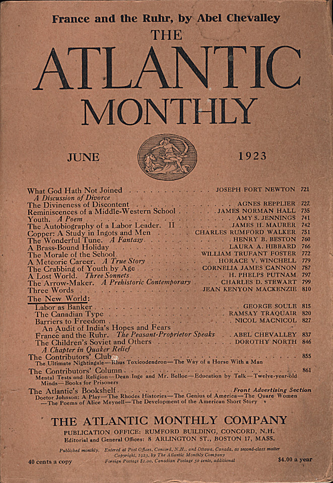 The Atlantic Monthly Vol. 131 No. 6