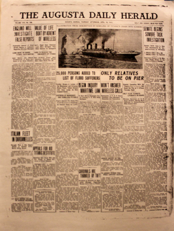 The Augusta Daily Herald April 18, 1912 Poster