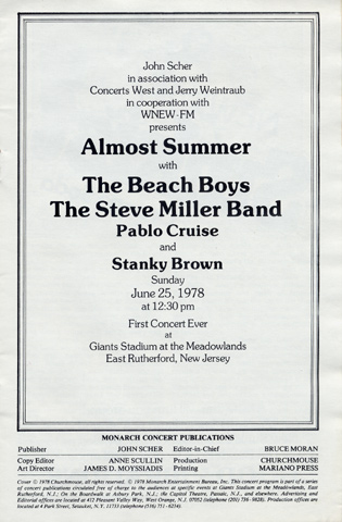 The Beach Boys Program reverse side