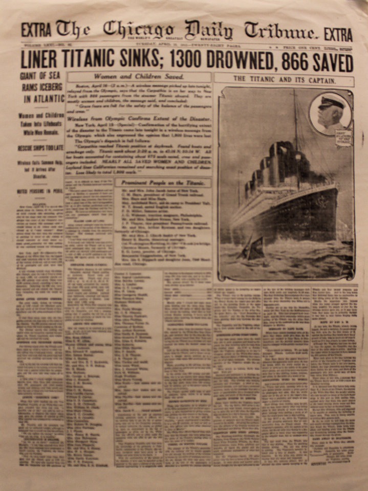 The Chicago Daily Tribune April 16, 1912 Poster