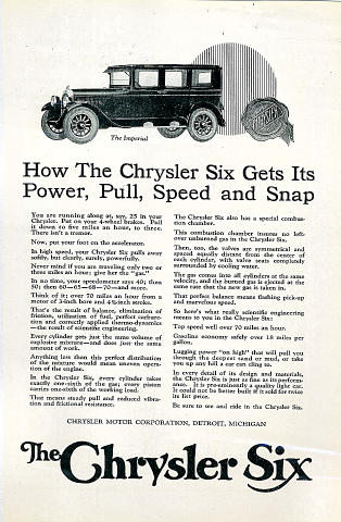 The Chrysler Six Vintage Ad