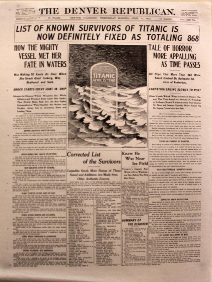 The Denver Republican April 17, 1912 Poster