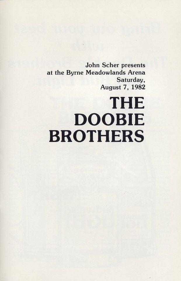 The Doobie Brothers Program reverse side