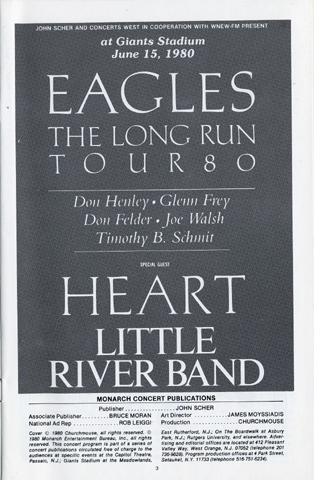 The Eagles Program reverse side