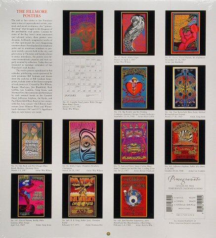 The Fillmore Posters Calendar reverse side