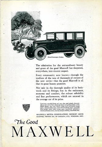The Good Maxwell: Five-Passenger Sedan Vintage Ad