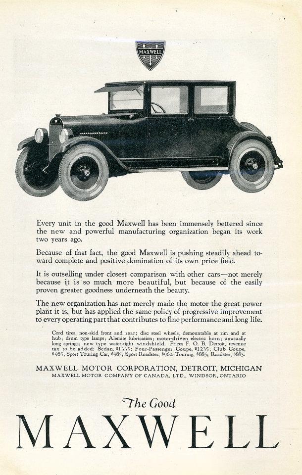 The Good Maxwell Vintage Ad, 1923 at Wolfgang\'s