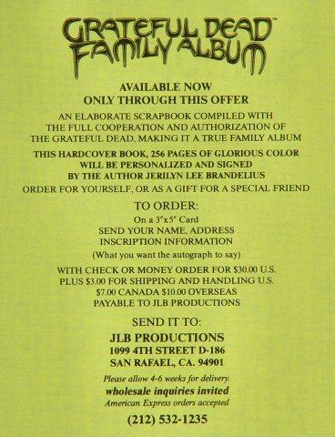 The Grateful Dead Family Album Handbill reverse side