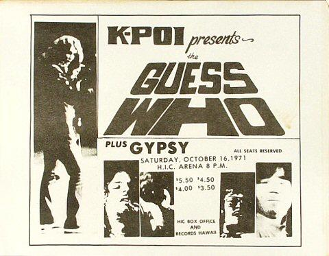 The Guess Who Handbill