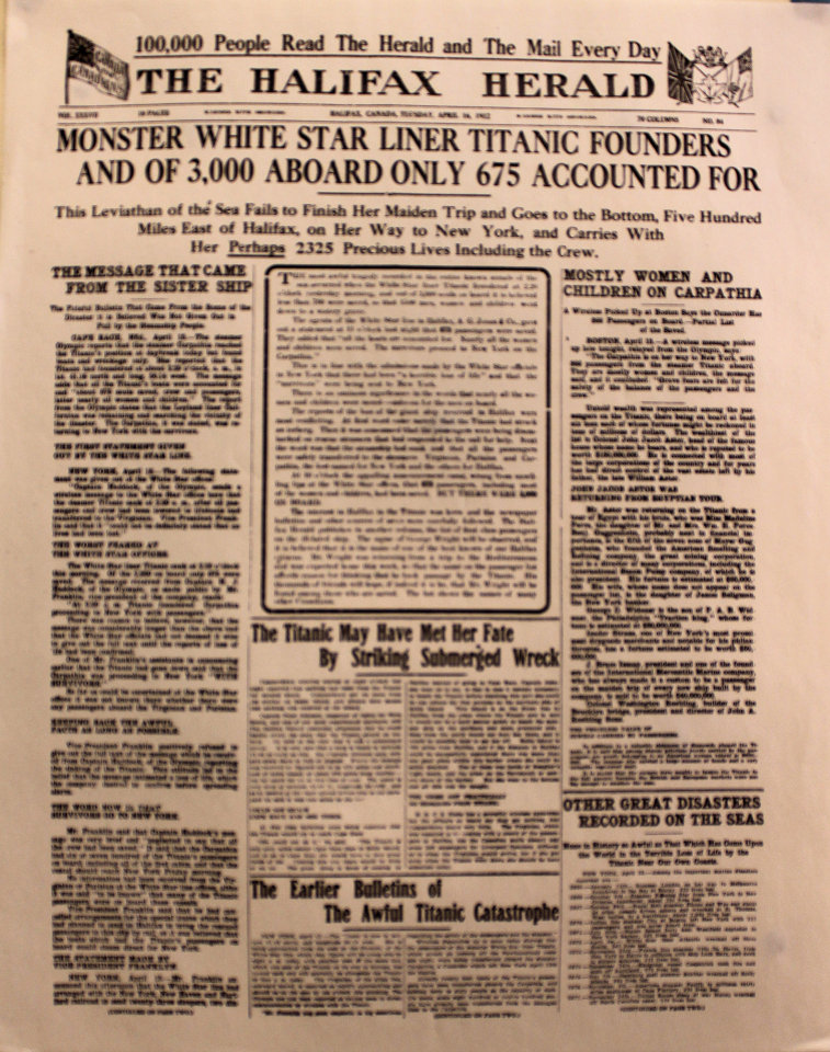 The Halifax Herald April 16, 1912 Poster