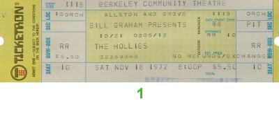The Hollies Vintage Ticket
