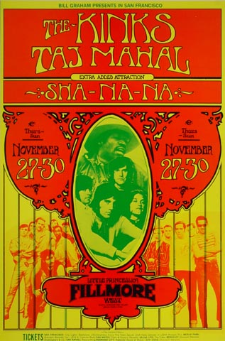 the kinks vintage concert handbill from fillmore west nov 27 1969