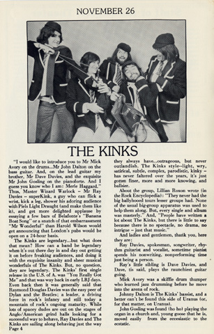 The Kinks Program reverse side