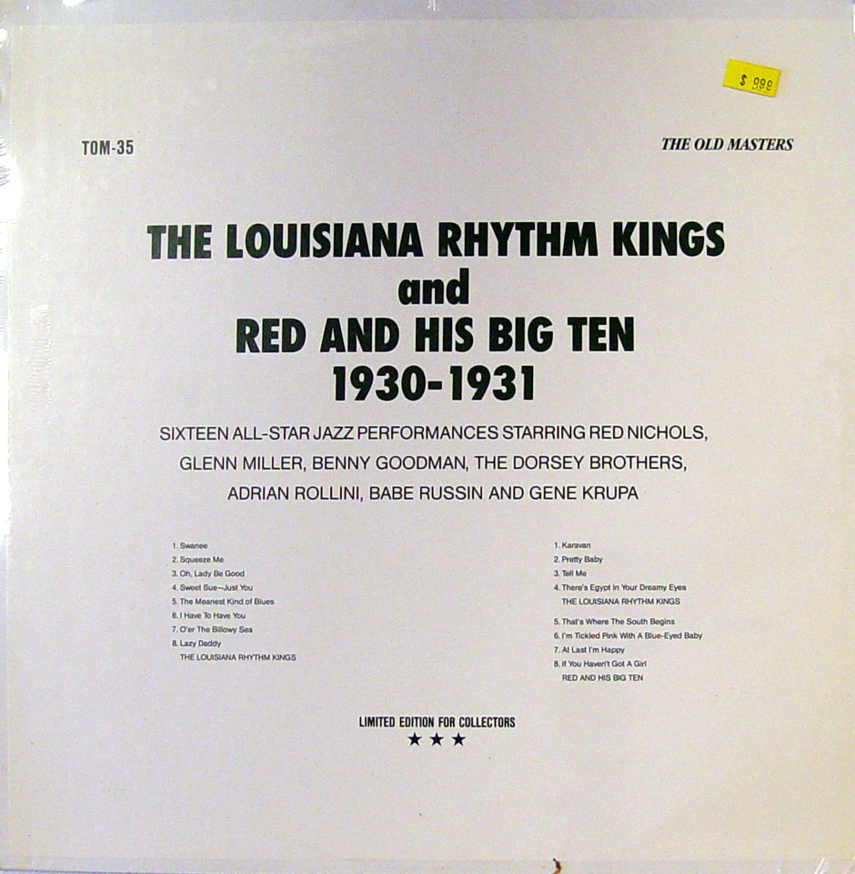 "The Louisiana Rhythm Kings / Red & His Big Ten Vinyl 12"" (New)"