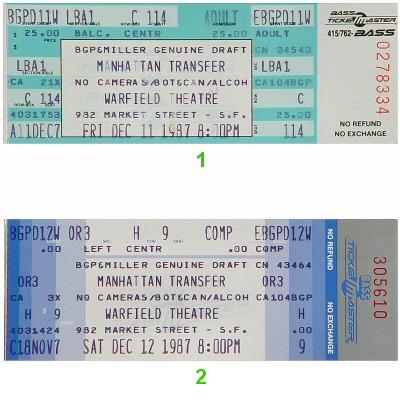 The Manhattan Transfer Vintage Ticket