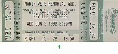 The Neville Brothers Vintage Ticket