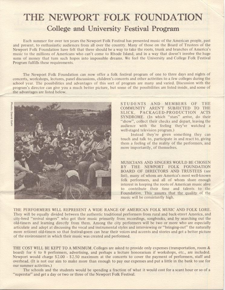 The Newport Folk Foundation Program