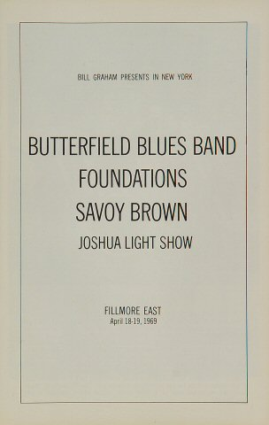 The Paul Butterfield Blues Band Program reverse side