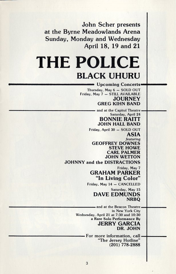 The Police Program reverse side