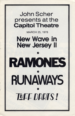 The Ramones Program reverse side