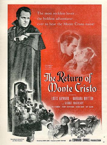 The Return Of Monte Cristo Vintage Ad
