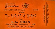 The Sheiks Of Shake Vintage Ticket