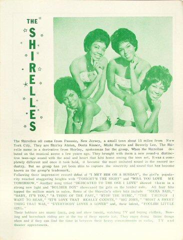 The Shirelles Program reverse side