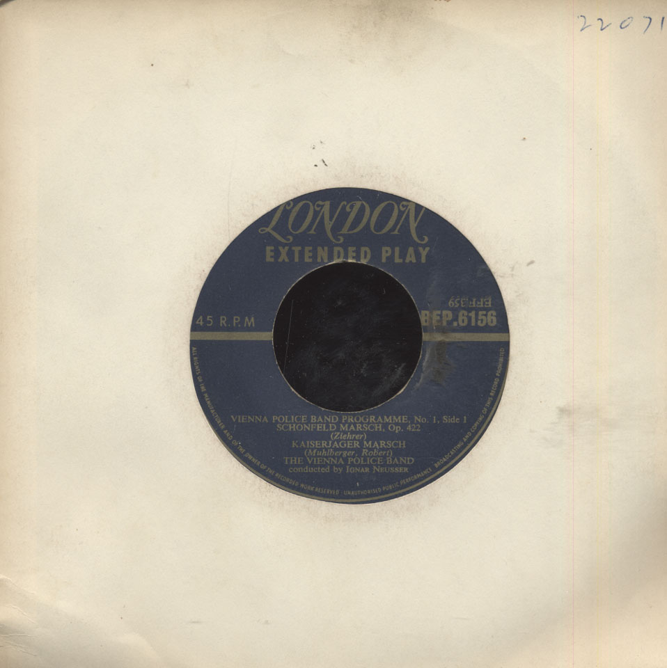 """The Vienna Police Band Vinyl 7"""" (Used)"""