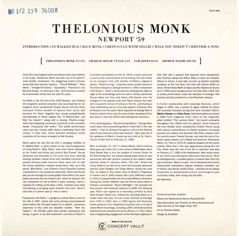"Thelonious Monk Vinyl 12"" (New) reverse side"