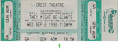 They Might Be Giants Vintage Ticket