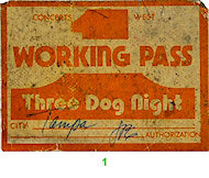 Three Dog Night Backstage Pass