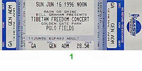 Tibetan Freedom Concert Vintage Ticket