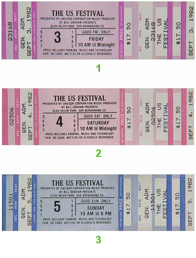 US Festival Vintage Ticket