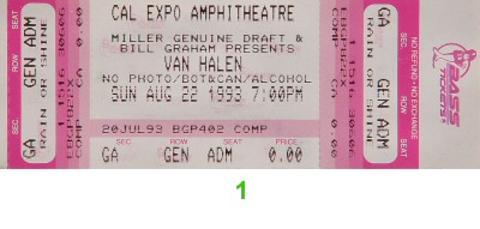 Van Halen Vintage Ticket