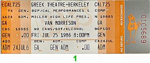 Van Morrison Vintage Ticket