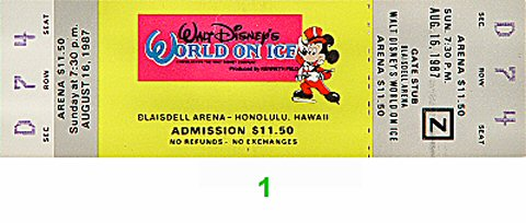 Walt Disneys World On Ice Vintage Ticket