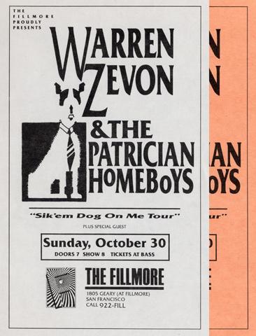 Warren Zevon & The Patrician Homeboys Handbill reverse side